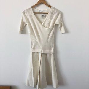 Club Monaco Parvana White Wrap Knit Dress SZ S